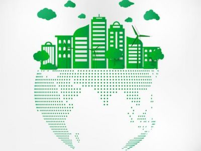 save-earth-planet-world-concept-world-environment-day-concept-green-modern-urban-city-on-green-dot-globe-safe-the-world-ecology-concept-vector